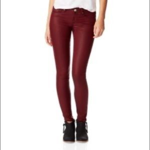 Aeropostale Coated Maroon Skinny Pants
